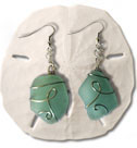 Aqua Sea Glass Earrings